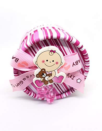 takestop® Bonbonnière doosje, rond, 12 stuks, roze strepen voor meisjes, fopspeen 7 x 5,5 cm, kartonnen doos van papier C1310a bonbonnière voor confect geboorte