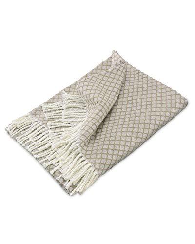 myHomery Sommerdecke Ornamente leicht & kuschelig - Wolldecke mit Fransen - Kuscheldecke Design – Sofadecke modern - Decke Baumwolle - Beige| 130 x 170 cm