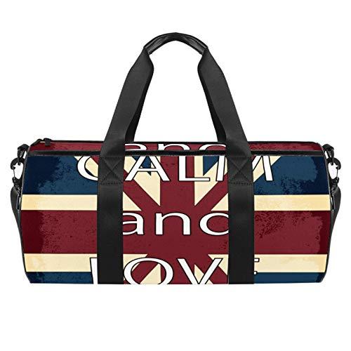 HANDIYA - Borsone sportivo da palestra per uomo/donna, da viaggio, 45,7 cm, bandiera inglese Keep Calm And Love