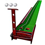 Wood Golf Putting Mat Come with 3 Golf Balls- Portable Mat with Auto Ball Return Function– Mini Golf Practice Training Aid, Game and Gift for Home, Office, Outdoor Use