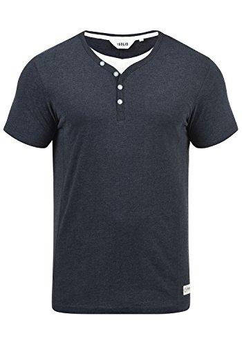 !Solid Dorian Herren T-Shirt Kurzarm Shirt Mit Grandad-Kragen, Größe:L, Farbe:Insignia Blue Melange (8991)