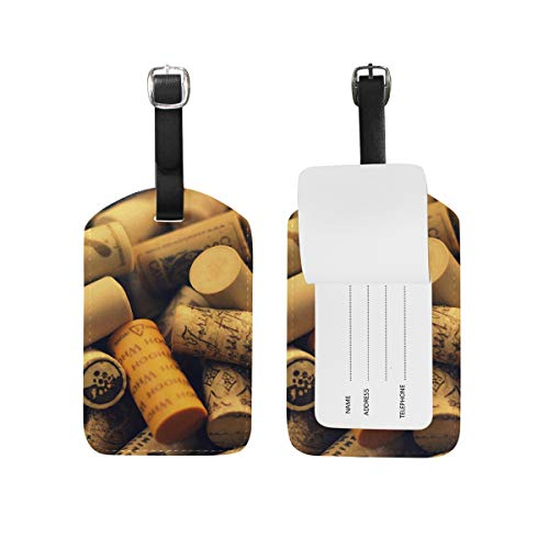 Eslifey Vintage Wine Corks PU Leather Suitcase Labels Tag Luggage Tags Privacy Cover for Travel Bag