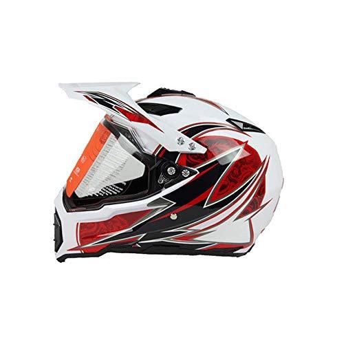 JayQm motorcross helm, volledig overdekte vier seizoenen snelweg off-road racen auto mountainbike volledige gezicht helm, zowel mannen als vrouwen, Wit Dragon Figure
