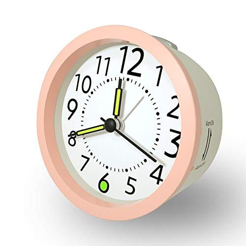 Klassischer analoger Wecker mit Schlummerfunktion, Leise kein Ticken Wecker Leicht ablesbare Uhr mit Nachtlicht für Schlafzimmer Büro Schule, Weiß + Pink