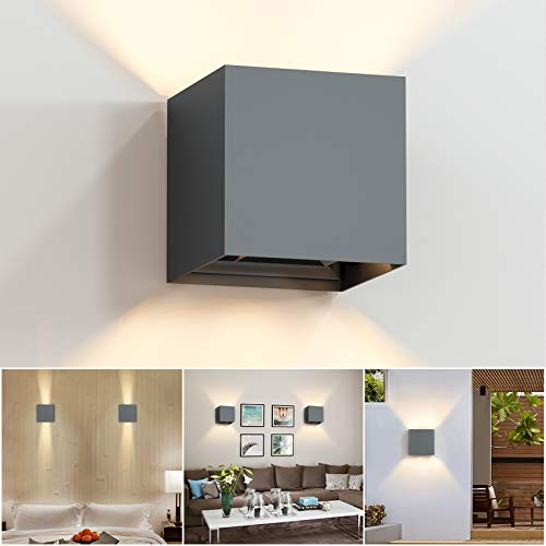 LED Wandleuchte 12W Wandlampe Innen/Aussen Modern, Wandbeleuchtung Einstellbarer Abstrahlwinkel 3000K Warmweiß Licht, IP65 Wasserdichte Außenwandleuchten (Dunkelgraue)