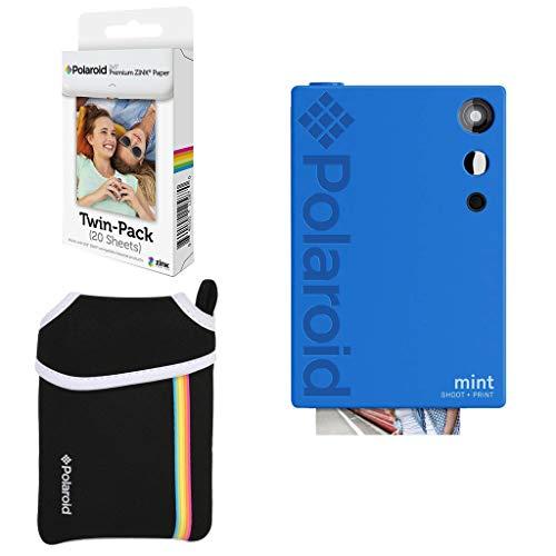 Polaroid Mint: Cámara Digital instantánea (Azul) Paquete básico + Papel fotográfico (20 Hojas) + Funda Deluxe