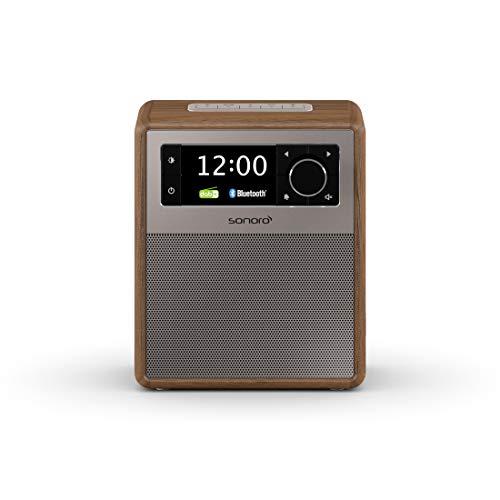 sonoro Easy Radio mit DAB Plus und Bluetooth (tragbar, UKW/FM, Wecker, Sleep-Timer, Nachtlicht, Akku/Batterie/Netzbetrieb) Design Digitalradio Walnuss