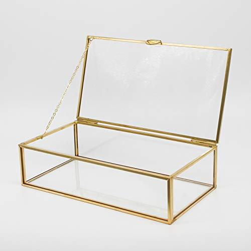 Vintage Minimalist Jewelry Box Golden Brass Metal Frame Clear Glass with Lids Hinge Chains Decorative Storage Box Display Case for Keepsakes Rings Earings Bracelet Watch Holder Home Deco Piece For Vanity