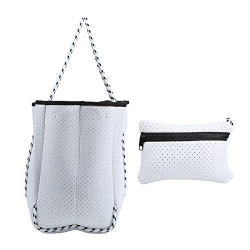 Asixxsix Bolso de Mano para Mujer, práctico y Conveniente, portátil y Resistente, diseño Perforado, Gran Bolsa de Playa para Piscina, para Viajes de Oficina(White)