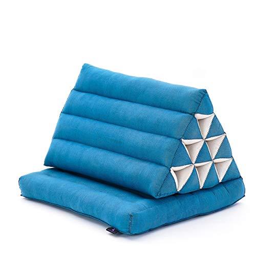 Leewadee Materasso Pieghevole con Schienale Triangolare: Comodo Tappetino con Cuscino Triangolare in Eco-kapok Fatto a Mano, Materasso thailandese, 75 x 50 cm, Azzurro