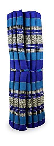 livasia Kapok Liegematte der Marke Asia Wohnstudio, 200cm x 110cm x 4,5cm; Rollmatte BZW. Yogamatte, Thaimatte, Thaikissen als asiatische Rollmatratze (blau)