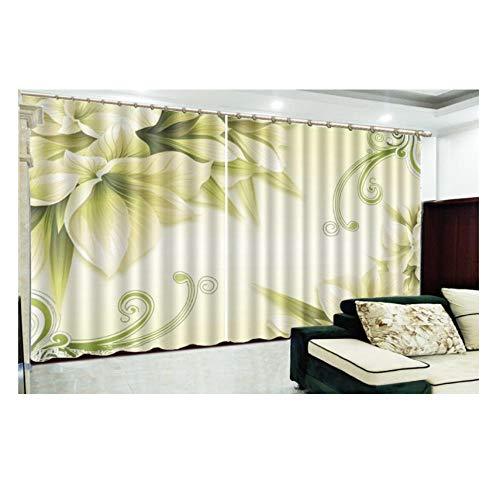 WKJHDFGB 3D Vorhang Promotion Yellow Delicate Flowers 3D Floral Vorhänge Anpassen Verdunkelungsvorhänge 215X320Cm