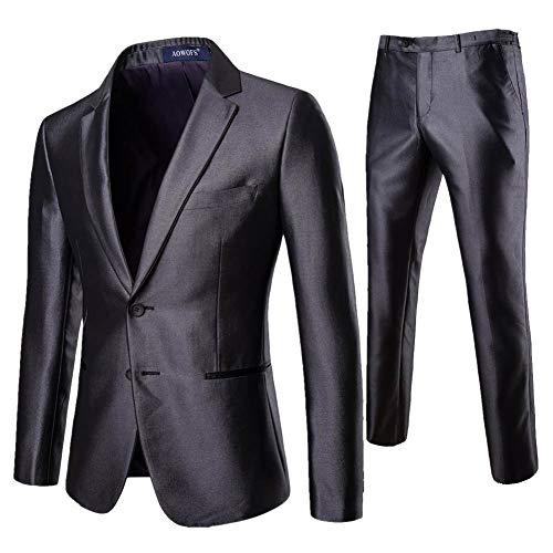 Yanlian Herren 2-Teilig Slim Fit Anzug Smoking Anzugjacke Hose Modern Sakko für Business Hochzeit Party Grau 4XL