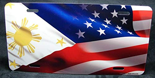 Yilooom Waving Philippines American Flag Metal Car License Plate USA Filipino Flag Auto Car Novelty Accessories License Plate Art