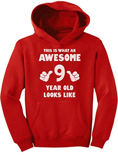 TeeStars - This is What an Awesome 9 Year Old Looks Like Youth Hoodie Medium Red