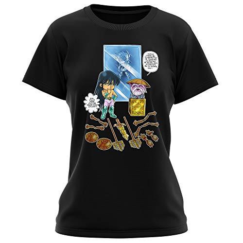 Okiwoki T-Shirt Femme Noir Parodie Saint Seiya - Shiryu du Dragon et Dohko Chevalier d'or de la Balance - Un Choix très Difficile. (T-Shirt de qualité Premium de Taille L - imprimé en France)