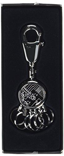 TROIKA PATENT SCHALTPLAN SCHLÜSSELHALTER – #KYR01-A028 – rund, glänzend – Schlüsselanhänger - Karabiner – 6 ausklinkbare Ringe - Schlüsselorganisation - technisches Design – TROIKA-Original