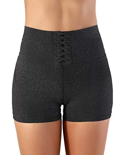 RIKKI Women's High Waist Thigh Slimming Bike Fitness Running Shorts (X-Large, RI1133 Charcoal)