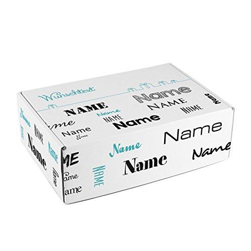 Herz & Heim® Geschenkkarton mit Namen in verschiedenen Schriftarten und Wunschtext zum Geburtstag/Geburt/Vatertag etc. Schwarz