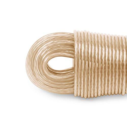 LaundrySpecialist® Cuerda DE Tender Ropa de 50 Metros con núcleo de Acero – más Resistente y más Larga