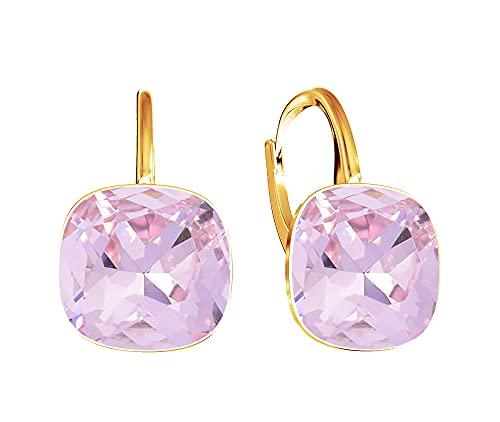 Crystals & Stones * Light Rose * * * * * Square * plata 925 chapado en oro 24K – Pendientes con cristales de Swarovski – Preciosos pendientes para mujer – Fantásticos pendientes con caja de regalo