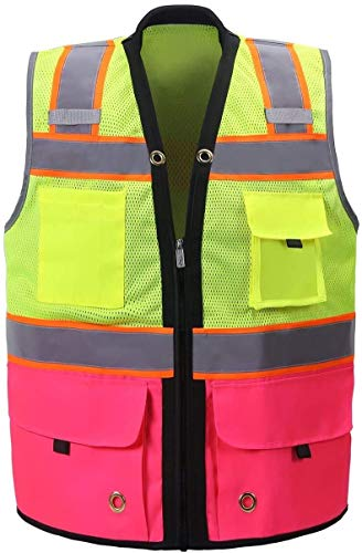 Shine Bright Safety Vest - High Visibility with Reflective Straps and Pockets – Soft, Durable, and Breathable – ANSI CLASS 2 (Size XL, Pink)