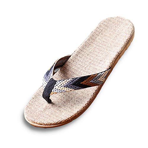 Männer Pantoffeln Schuhe Sommer rutschfeste Flache Strand Stroh Sandalen Männer lässige Flip Flops