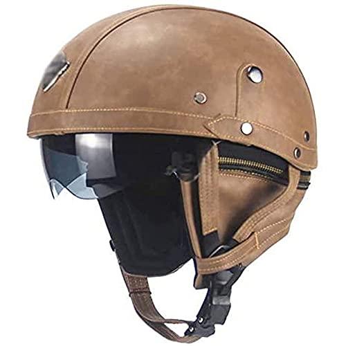 YLXD Casco Semicubierto para Motocicleta,Casco De Cara Abierta,Moto De Estilo Retro Prueba de Golpes Homologado Dot/ECE Casco Alemán De La Segunda Guerra Mundial A,L