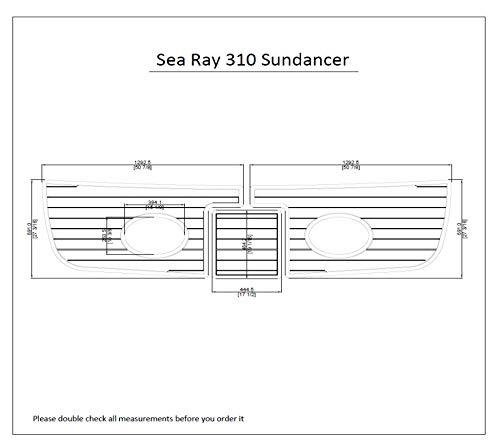 Sea Ray 310 Sundancer Swim Platform Pad 1/4' 6mm Marine Boat EVA Teak Decking (Dark Brown with Black Lines)