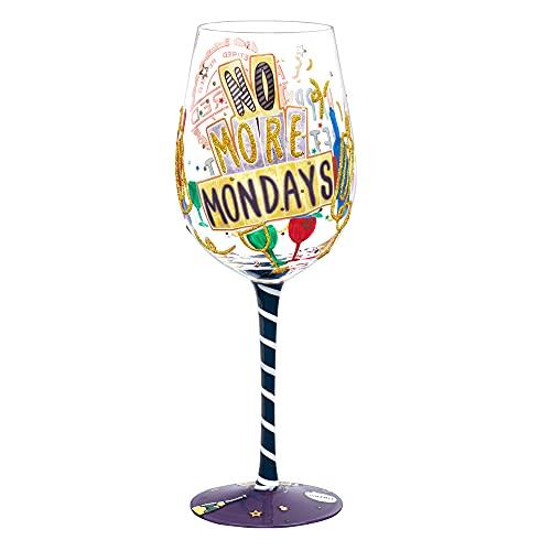 NymphFable Copa de Vino Pintada a Mano Feliz Vida Jubilada Copa de Vino Tinto 15oz Regalo para Familia o Amigo