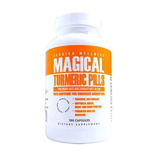 Jessica Wellness Turmeric Curcumin Capsules Whit BioPerine & Ginger 1800mg Joint & Healthy Inflammatory Support 95% Curcuminoids - 180 Capsules Black Pepper Extract