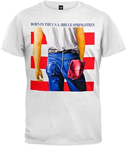 Camiseta de Manga Corta Bruce Springsteen para Hombre, Blanco, Grande