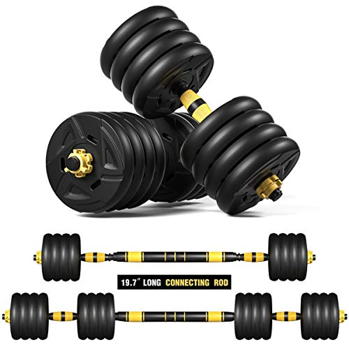 ER KANG Adjustable Fitness Dumbbells Set, 88lbs Free Weights Dumbbells with 19.7 Connecting Rod Used As Barbell for Home Gym, Workout, Whole Body Training, 2 Pieces/Set, Ship from The US
