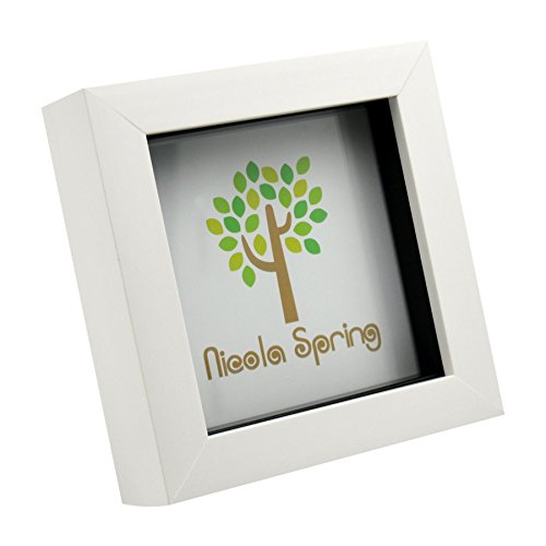 Nicola Spring 4x4 (10 x 10cm) Square Box Glass Photo Picture Frame, Standing & Hanging - White