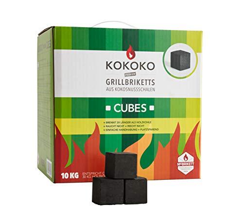 KOKOKO CUBES Premium Grillkohle, 10 kg Bio Kokos Grillbriketts in Würfelform