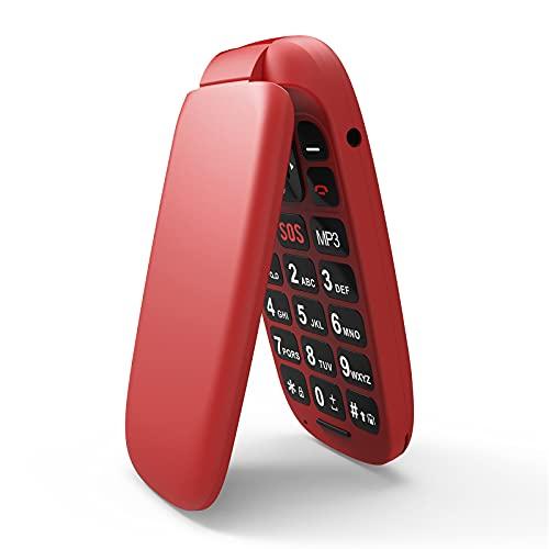 Telephone Portable a Clapet,Ukuu 1,8 Pouces Dual SIM Bouton SOS Débloqué Telephone Portable Senior avec Grandes Touches Grand GSM 800mAh Batterie Grande Capacité Telephone Senior Rosso