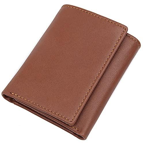 TTWLJJ Cartera Hombre,Porta Tarjetas de Crédito y Cartera - con Protección RFID Cartera de Viaje Corta Vintage Embrague,Light Brown