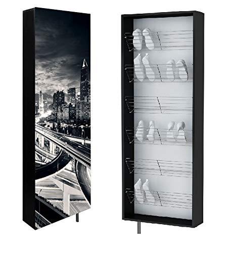 Zapatero giratorio, zapatero, armario de baño, rotatorio, armario rotatorio de pared, perchero, 4 estantes, 4 perchas, zapatero, zapatero, diseño 186 x 63,6 x 18 cm (City New)
