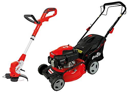 Grizzly Tools Rasenmäher Set besteht aus Benzinrasenmäher mit großen Rädern, 42 cm Schnittbreite, Stahlgehäuse und Elektro Rasentrimmer mit 450 Watt Leistung, 28 cm Schnittkreis