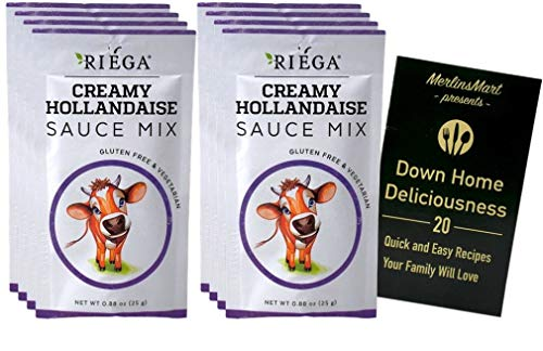 Riega Gluten Free Vegetarian Hollandaise Sauce Mix   Pack of 8 (.88 Ounce)   Plus Recipe Booklet Bundle
