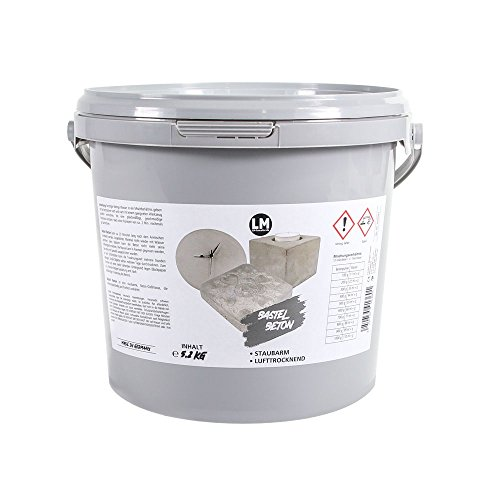 LM-Kreativ LM Bastel-Beton Premium Qualität (5,2 kg) Beton zum Basteln, Bastel-Beton, Beton für Kreative, Kreativ-Beton, Hobby-Beton, Viva Decor