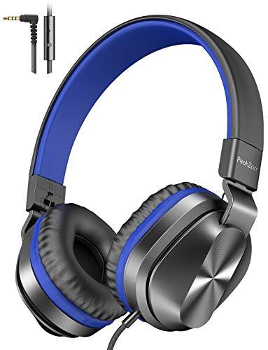PeohZarr On-Ear Kopfhörer mit Mikrofon, Leichte Faltbare Stereo-Bass-Kopfhörer mit 1,5 m Verwickelungsfreiem...
