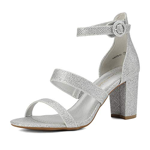 DREAM PAIRS Women's Silver Glitter Dress Pump Open Toe Ankle Strap Low Chunky Block Heel Sandals Size 9 M US Haven-01
