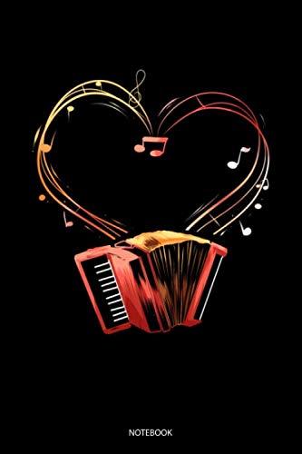Notebook: Liniertes Notizbuch A5 - Akkordeon Begleitinstrument Ziehharmonika Notizheft I Geschenk für Musiker