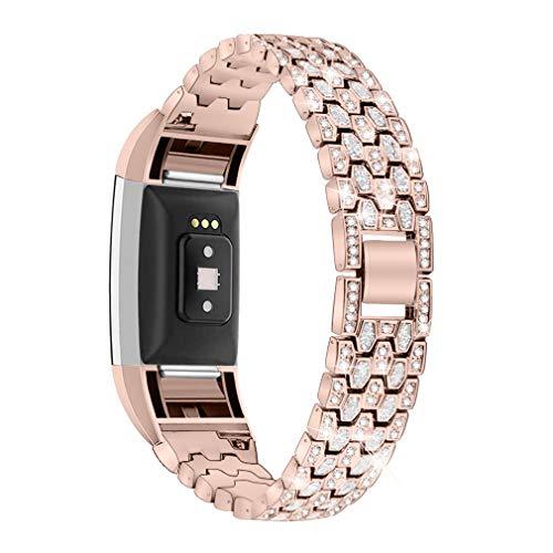 GIMart Bling Armband kompatibel mit Fitbit Charge 2 Armband, Damen Herren Edelstahl Strass Ersatz Charge 2 Band Handschlaufe Metall Armband Armband für Fitbit Charge 2 HR Fitness Tracker