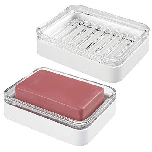 mDesign Set da 2 Portasapone design in bambù e vetro – Funzionale vaschetta per sapone ecologica – Porta sapone per il bagno e la cucina – trasparente e bianco