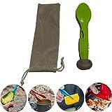 HAONAN Cubiertos de Viaje 7 en 1, Combo de Cuchillo y Tenedor para Cuchara de Camping, Tenedor de Cuchara de Picnic para Acampar al Aire Libre portátil, Botella de Llave/abrelatas (Verde)