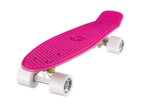 Ridge, Skateboard con ruote, completo e montato, Mini Cruiser Retro Stil In M Rollen , 55 cm, rosa/bianco (Rosa/Bianco)
