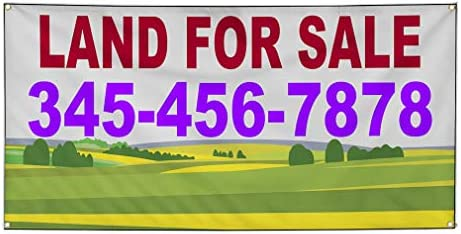 Custom Industrial Vinyl Banner Business Outdoor Land for Sale Phone Number Greenery Red 24x36inches product image