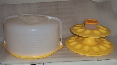 Tupperware Round Cake Carrier with Deviled Egg Tray Yellow